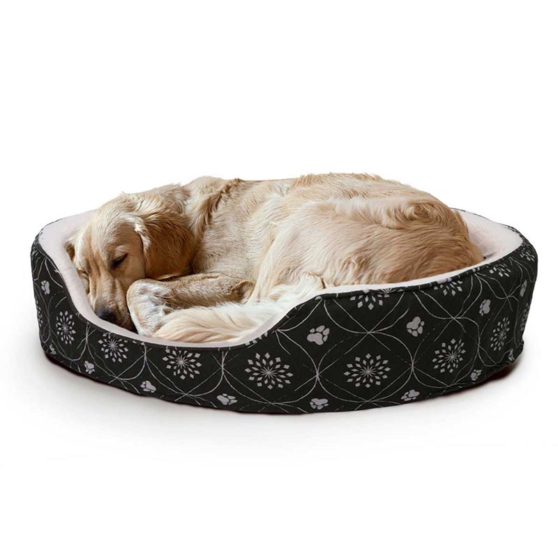 Dog Sleeping in FurHaven Nap Paw Print Decor Flannel Oval Dark Espresso - 29 inches by 42 inches