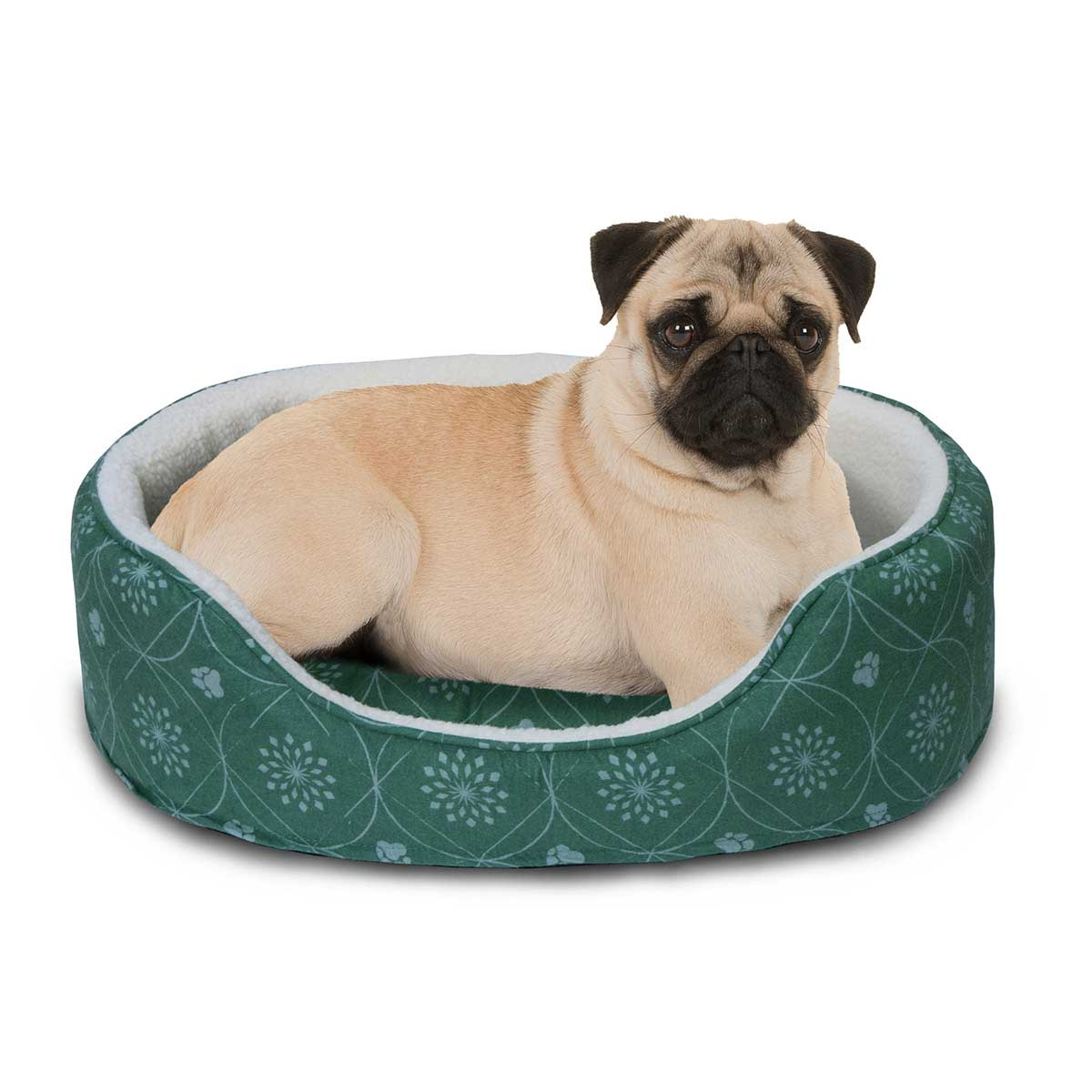 Pug in Jade Green Furhaven Nap Paw Print Decor Flannel Oval - 15 inches by 18.5 inches