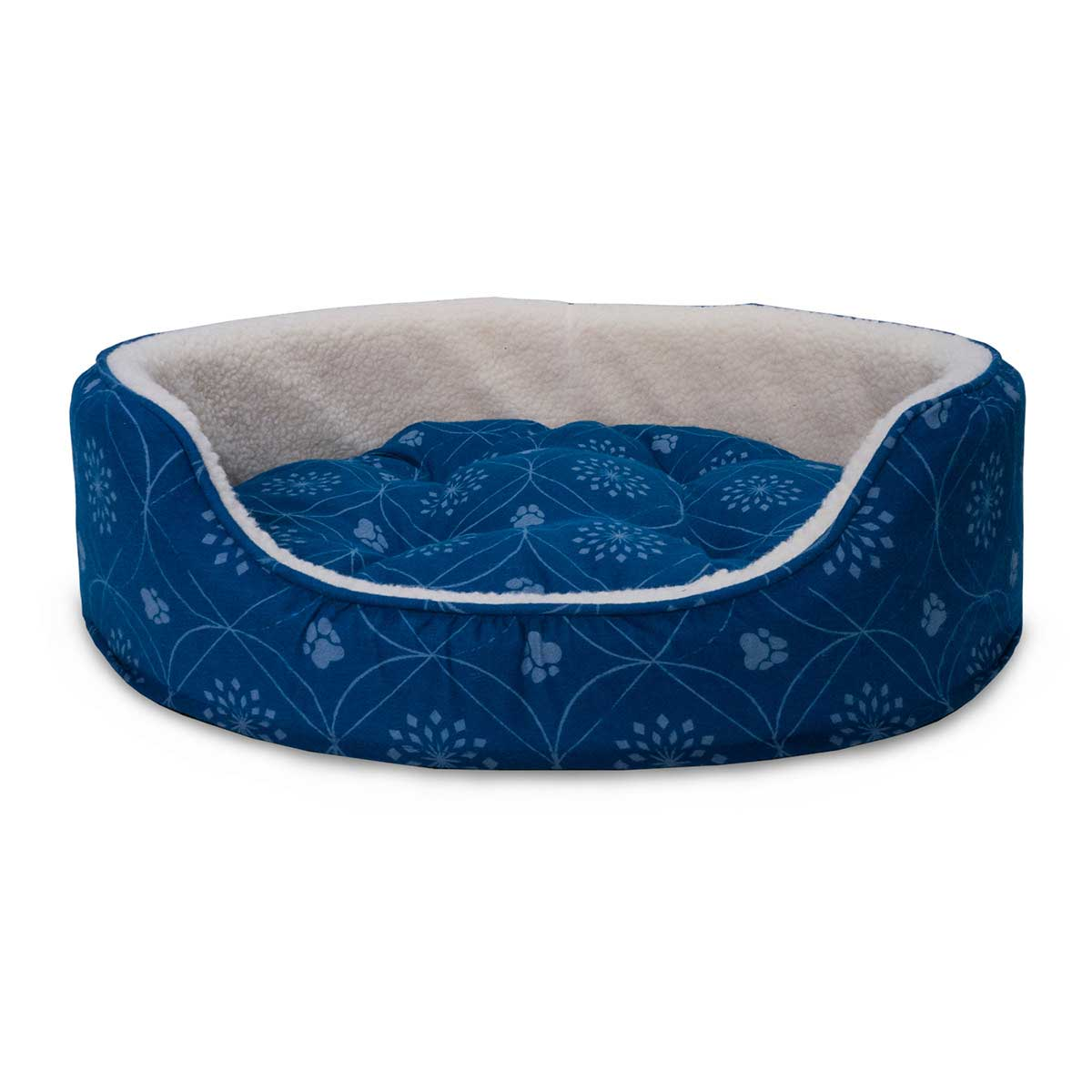 FurHaven Nap Paw Print Decor Flannel Oval Pet Bed - Twilight Blue - 15 inches by 18.5 inches