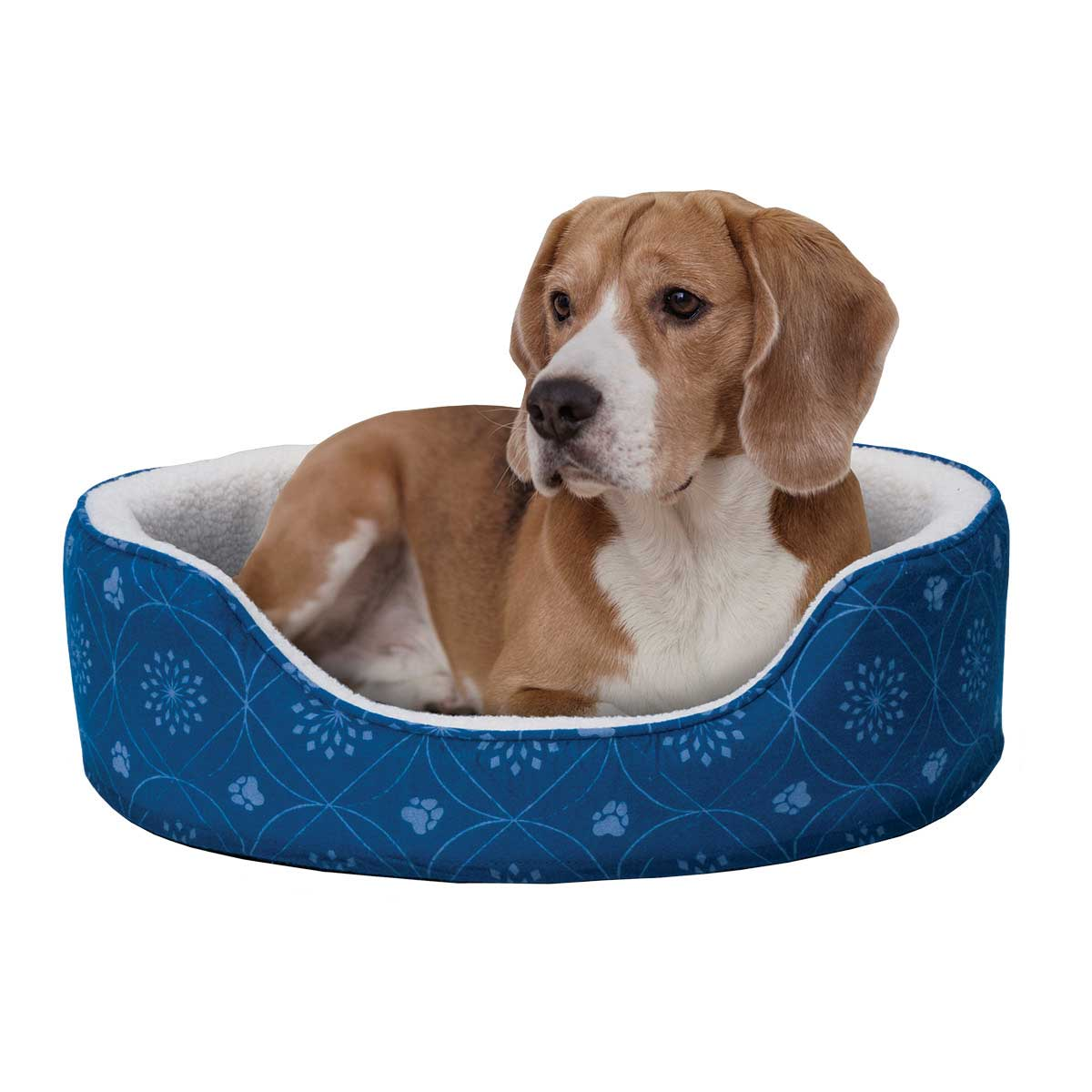 26.5 by 30 inches FurHaven Twilight Blue Nap Paw Print Decor Flannel Oval Pet Bed in