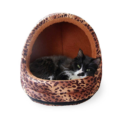 FurHaven Leopard Fur Print Hood Bed Small Cat Bed