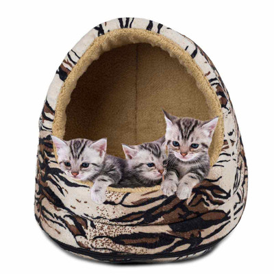 Three kittens sitting in FurHaven Tiger Fur Print Hood Bed Small Pet Bed