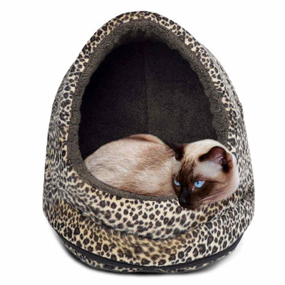 Siamese cat in FurHaven Cheetah Fur Print Hood Pet Bed Small