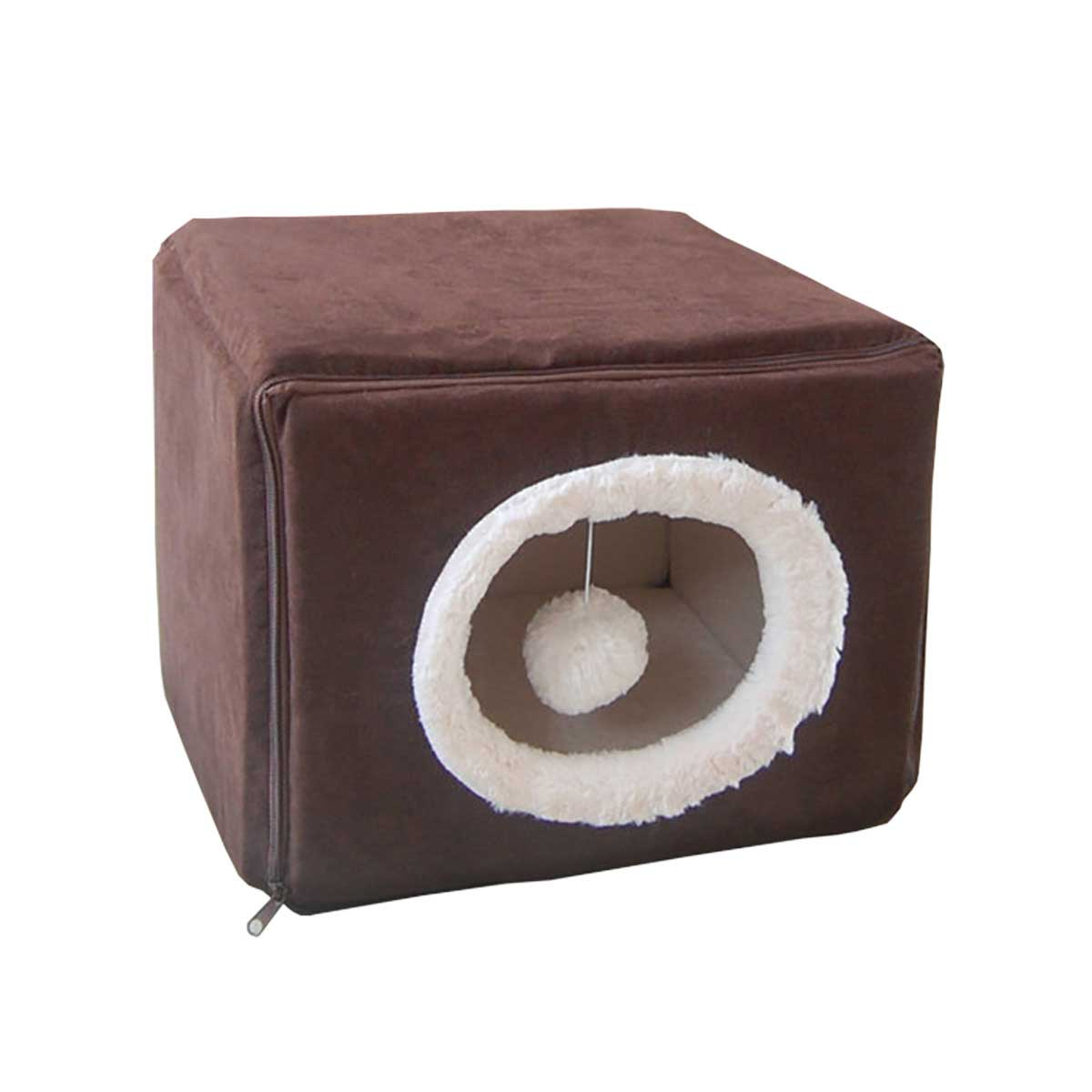 FurHaven Sherpa/Suede Cozy Cube - 18 by 18 by 15 inches - Espresso