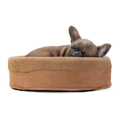 French Bulldog sleeping in Furhaven Camel Snuggle Terry Cup Dog Bed