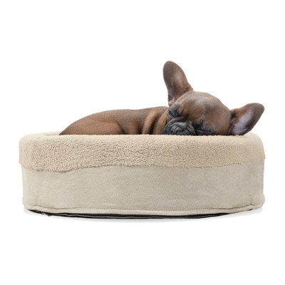 Bulldog sleeping in Furhaven Clay Snuggle Terry Cup Pet Bed