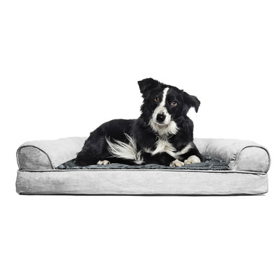 FurHaven NAP Ortho Plush and Suede Sofa Bed for Pets - Gray 20 inches by 15 inches by 3.5 inches