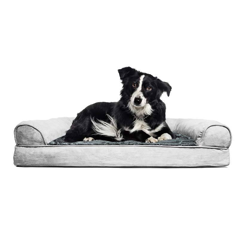 Gray FurHaven NAP Orthopedic Suede and Plush Sofa Pet Bed - 36 inches by 27 inches by 3.5 inches