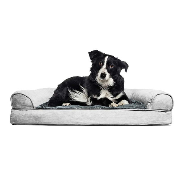 Dog sitting in FurHaven Gray NAP Orthopedic Plush and Suede Sofa Bed - 44 inches by 35 inches by 4.5 inches