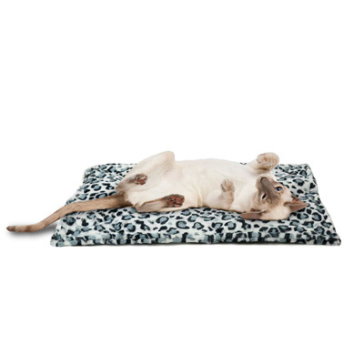 Cat laying on ThermaNAP Faux Fur Self-Warming Mat Snow Leopard