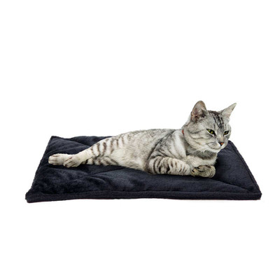 Cat laying on Black FurHaven ThermaNAP Faux Fur Self-Warming Mat