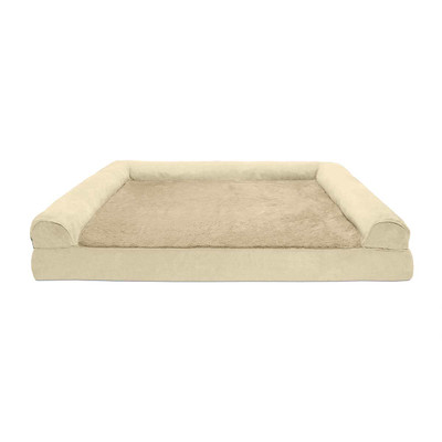 XXL FurHaven Orthopedic Sofa Dog Bed Clay