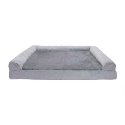 XXL Gray FurHaven Orthopedic Sofa Dog Bed