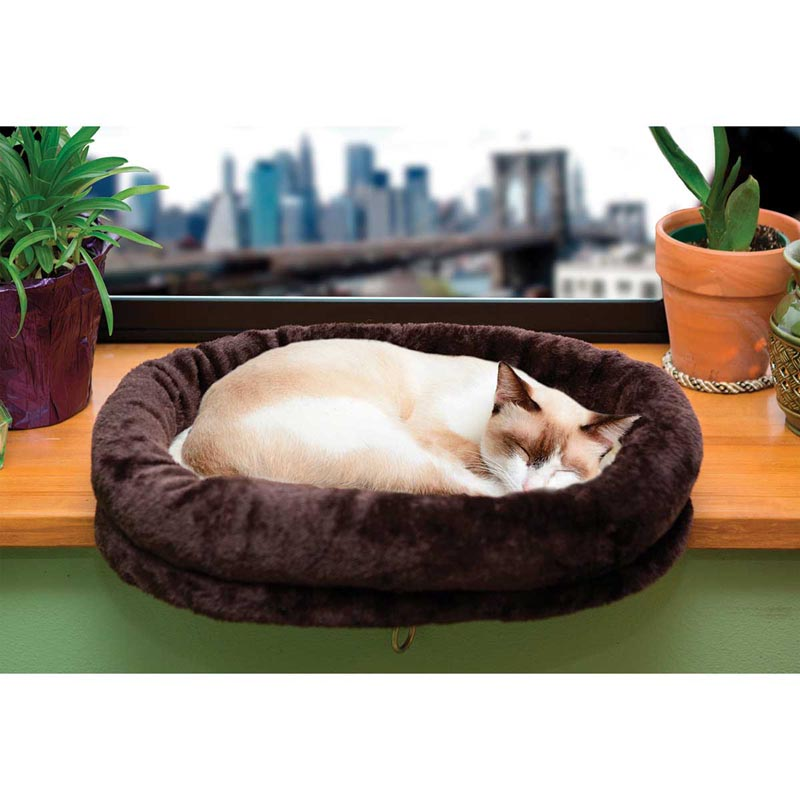 Tiger Tough Plush Cat Bed Perch Chocolate - 18 inches by 13.75 inches