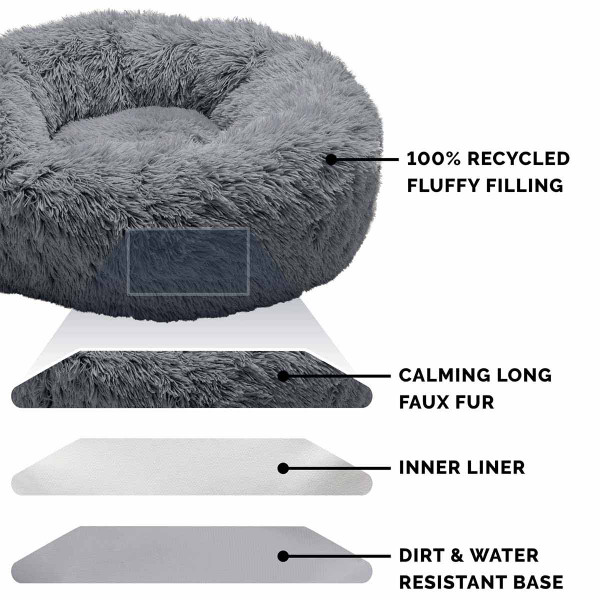 Layers of the FurHaven Faux Fur Donut Bed