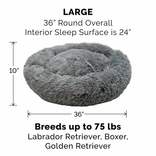 Large Gray FurHaven Faux Fur Donut Bed