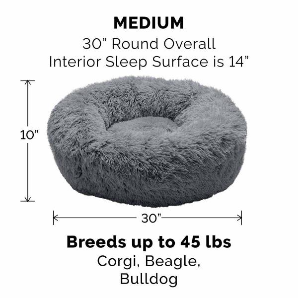 Gray Medium FurHaven Faux Fur Donut Bed