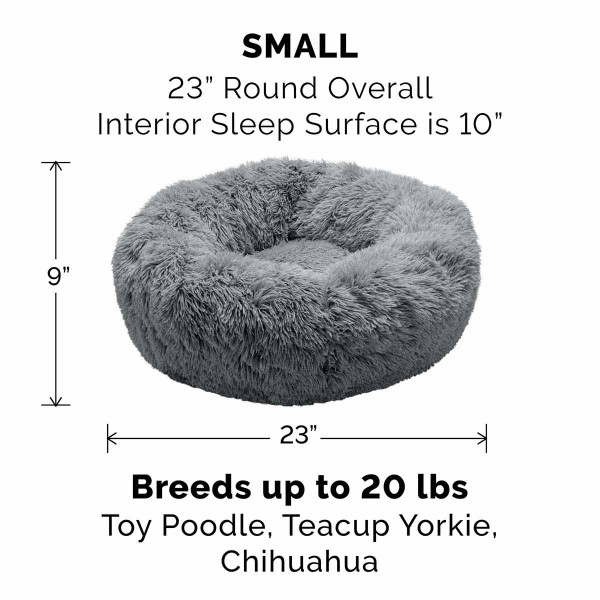 Small Gray FurHaven Faux Fur Donut Bed