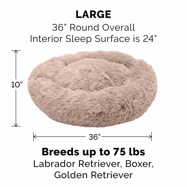 Large Taupe FurHaven Faux Fur Donut Bed