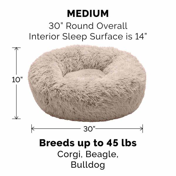 Medium Taupe FurHaven Faux Fur Donut Bed