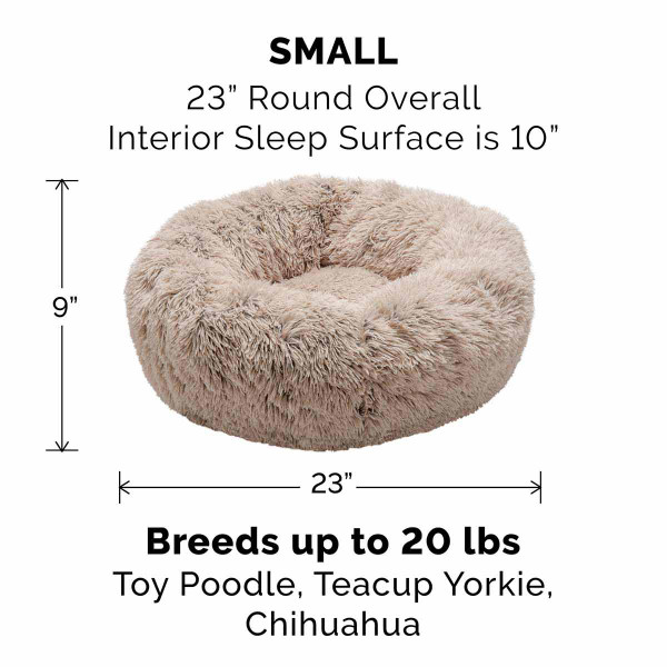Small Taupe FurHaven Faux Fur Donut Bed