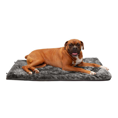 Dog laying on FurHaven Deluxe Faux Fur Silver Kennel Pad