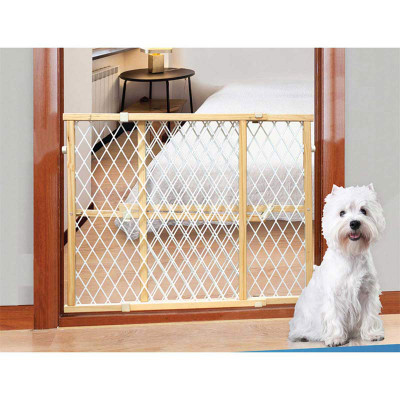Four Paw Pressure Mounted Locking Wood Gate With Mesh