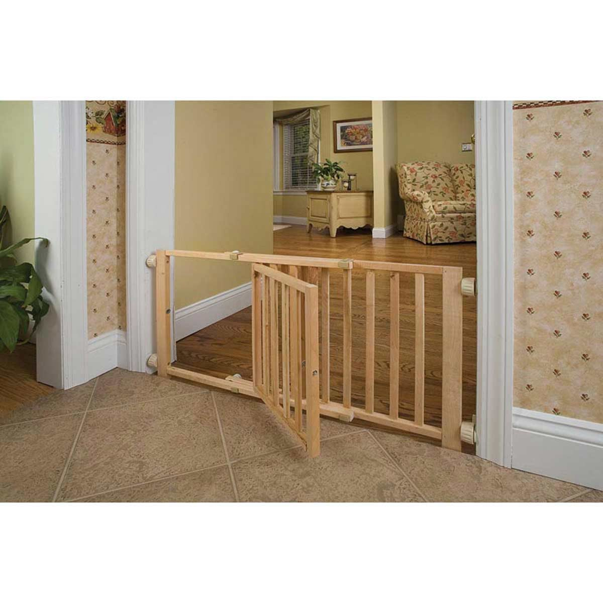 Four Paws Walk-Over Wood Safety Gate with Door 30-44 inches Wide by 18 inches Height