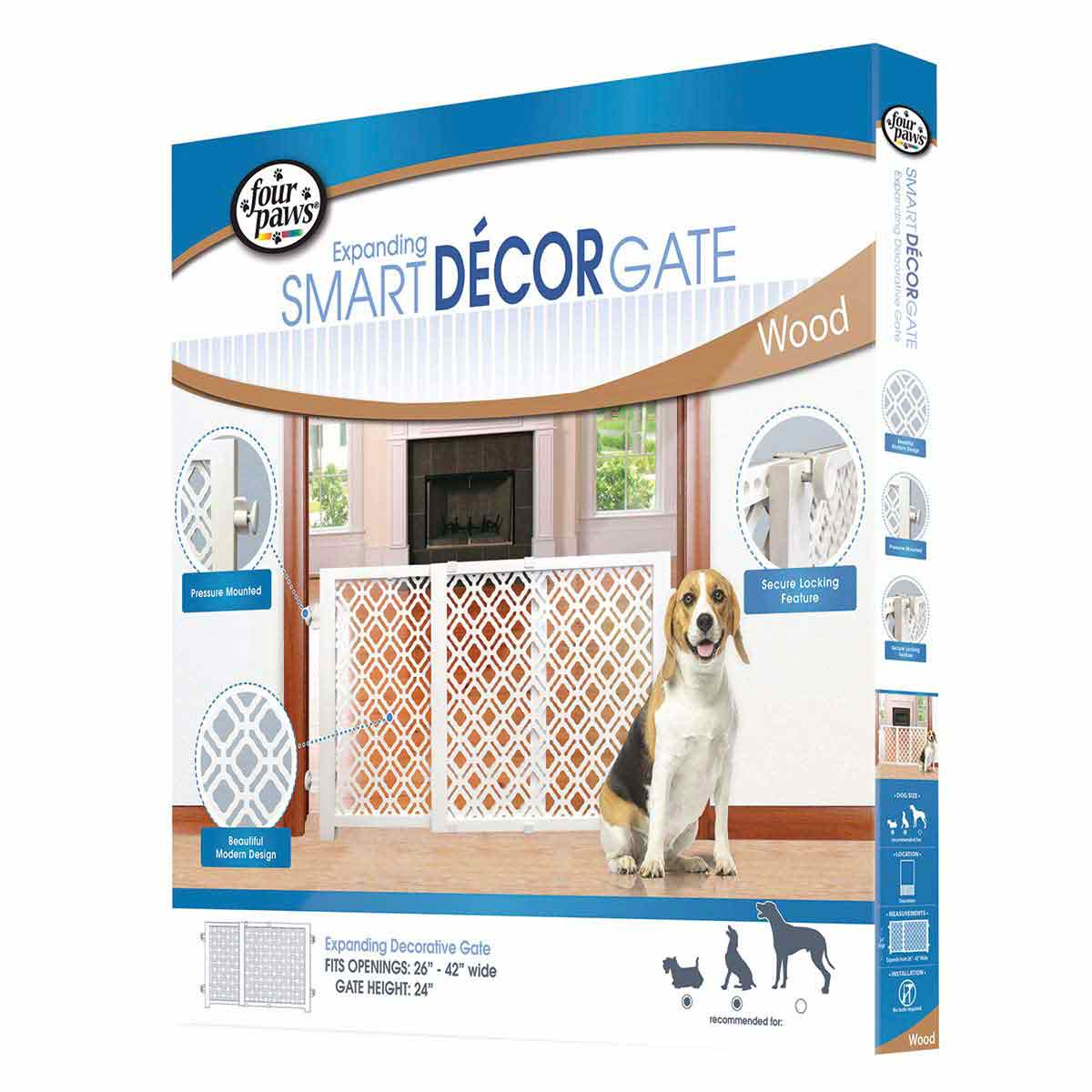 Four Paws Expanding Décor Gate - Expands from 26 inches - 42 inches wide