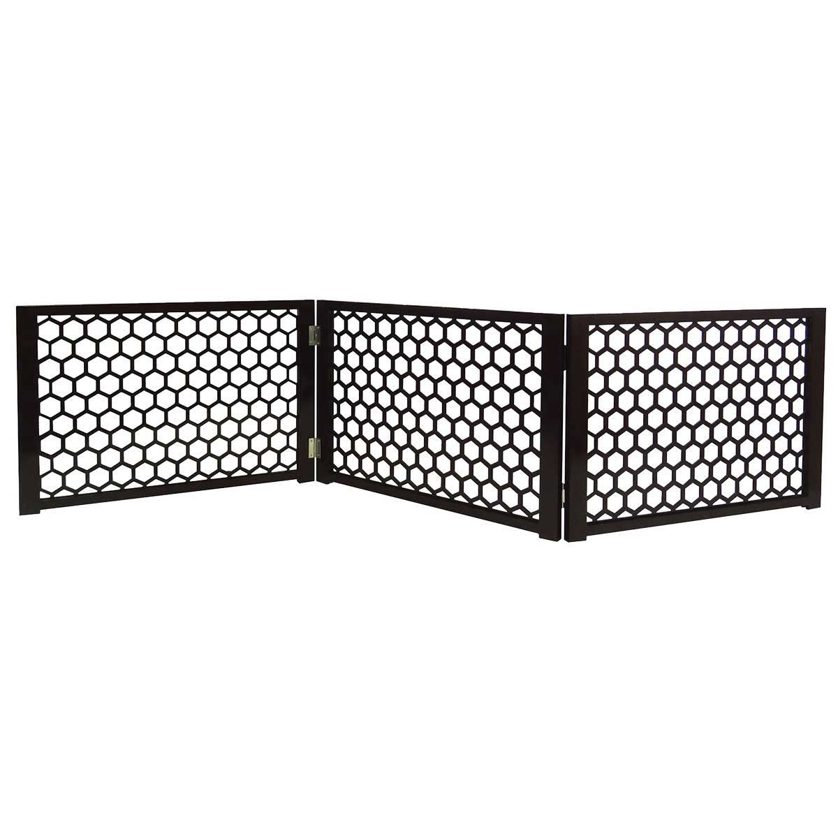 Four Paws Decor Free Standing Portable Gate - Dark Brown