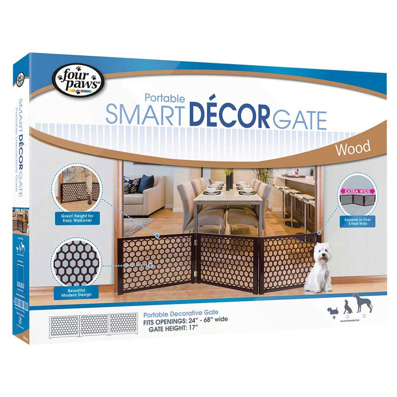 Four Paws Decor Portable Gate in Box/Packaging - Expands from 24 inches to 68 inches wide