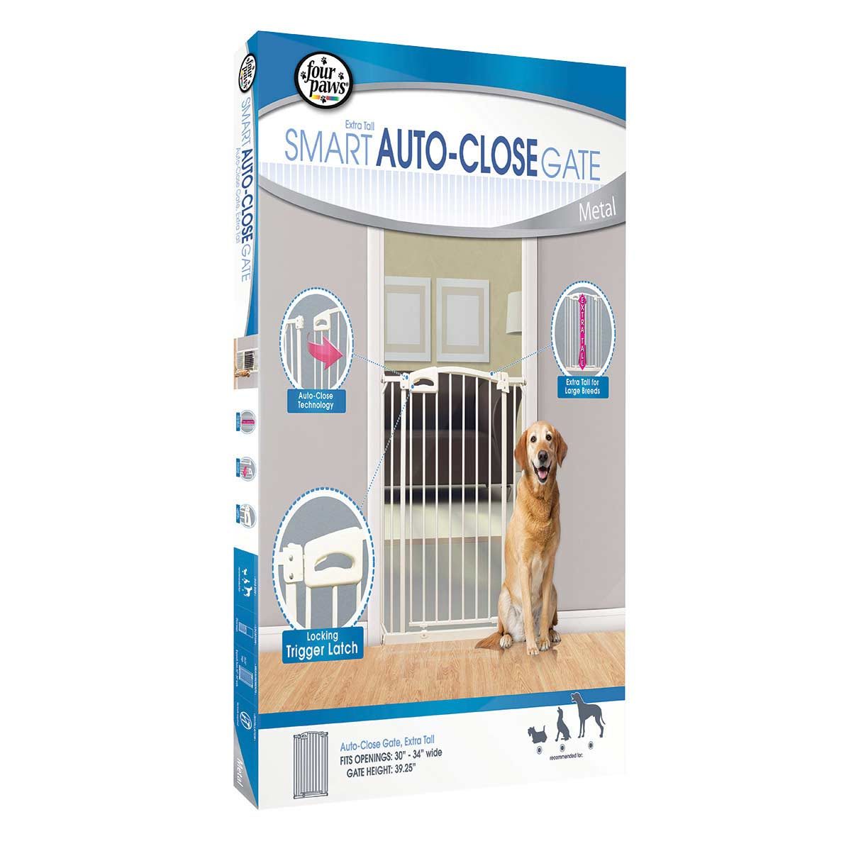 Four Paws Auto Closing Gate Extra Tall 30-34 inches wide by 39.25 inches tall