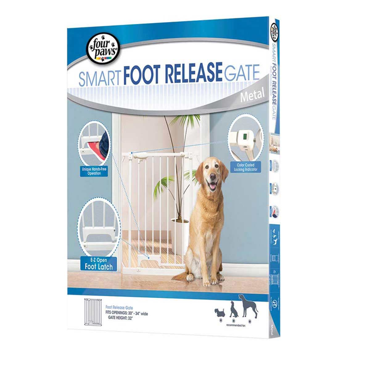 Four Paws Smart Foot Release Metal Dog Gate - Expandable 30-34 inches wide by 32 inches tall