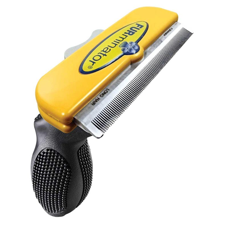 Furminator 4 inch Deshedding Brush Tool for Large Dogs with Long Hair (51-90 Lbs)