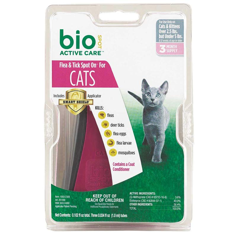 Bio Spot Active Care Flea and Tick Spot On for Cats and Kittens