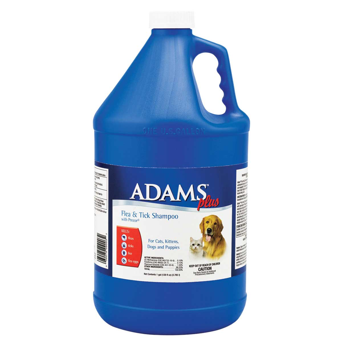 Adams Plus Flea and Tick Shampoo With Precor Gallon - For Cats, Dogs, Puppies and Kittens