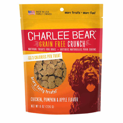 Chicken, Pumpkin and Apple 8 oz Charlee Bear Crunch Grain Free Dog Treats -