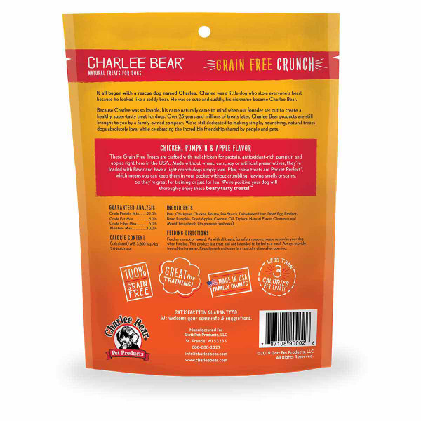 Back of Charlee Bear Crunch Grain Free Dog Treats - Chicken, Pumpkin and Apple 8 oz