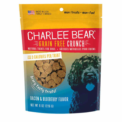 Charlee Bear Crunch Grain Free Treats - Bacon Blueberry 8 oz