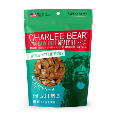 Beef Liver and Apple 2.5 oz Charlee Bear Meaty Bites Dog Treats