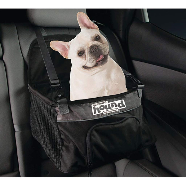 Dog sitting in Medium Outward Hound Booster Seat Black for Dogs