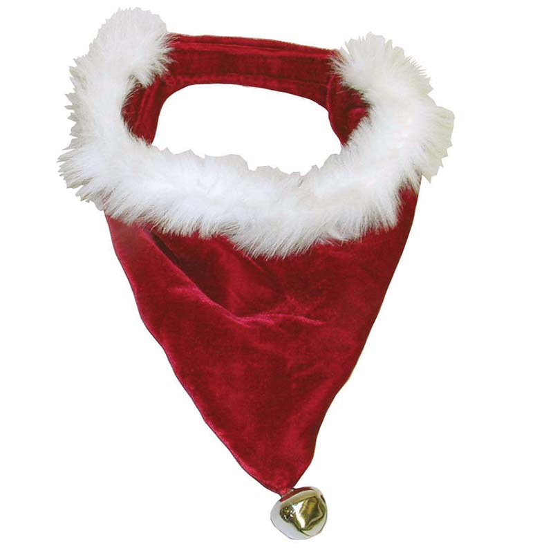 Dog wearing Outward Hound Santa Bandanna Large Red And White