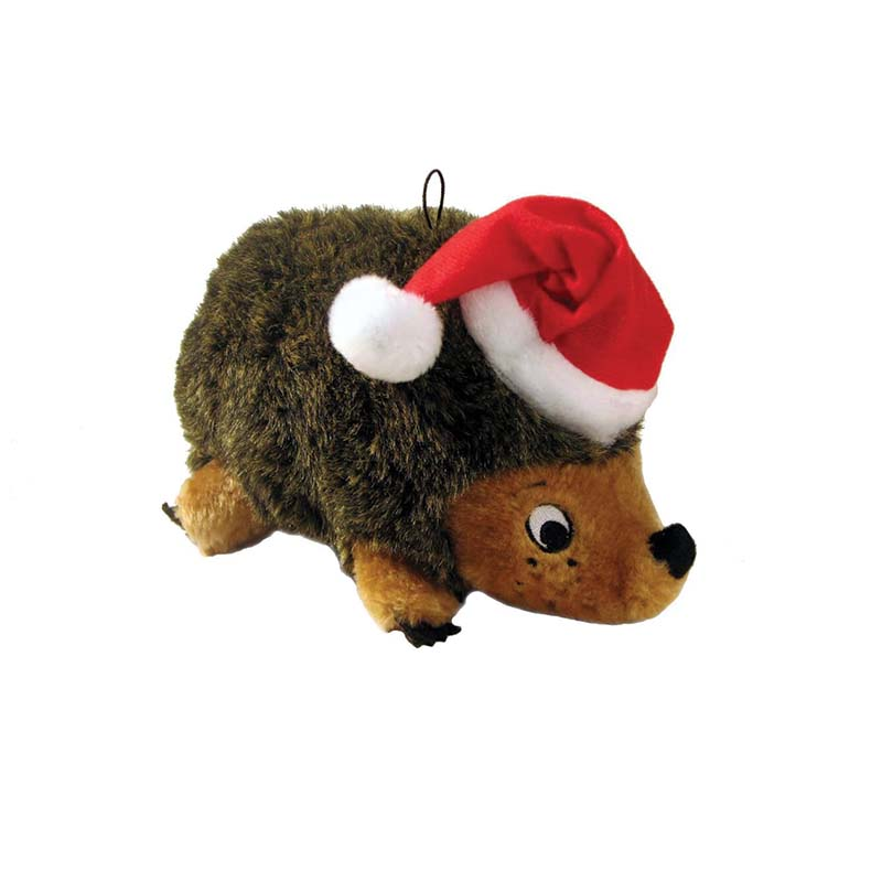 Outward Hound Small Brown Holiday Heggie - Dog Toy with Squeaker