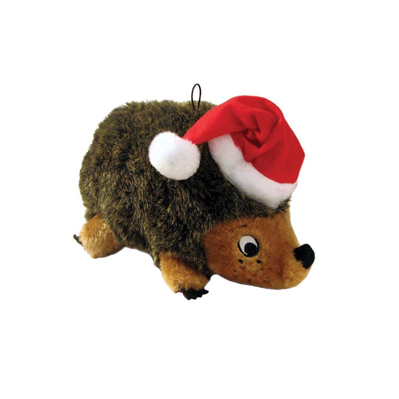 Outward Hound Medium Brown Stuffed Holiday Heggie Dog Toy - Squeaks, Grunts, Rattles