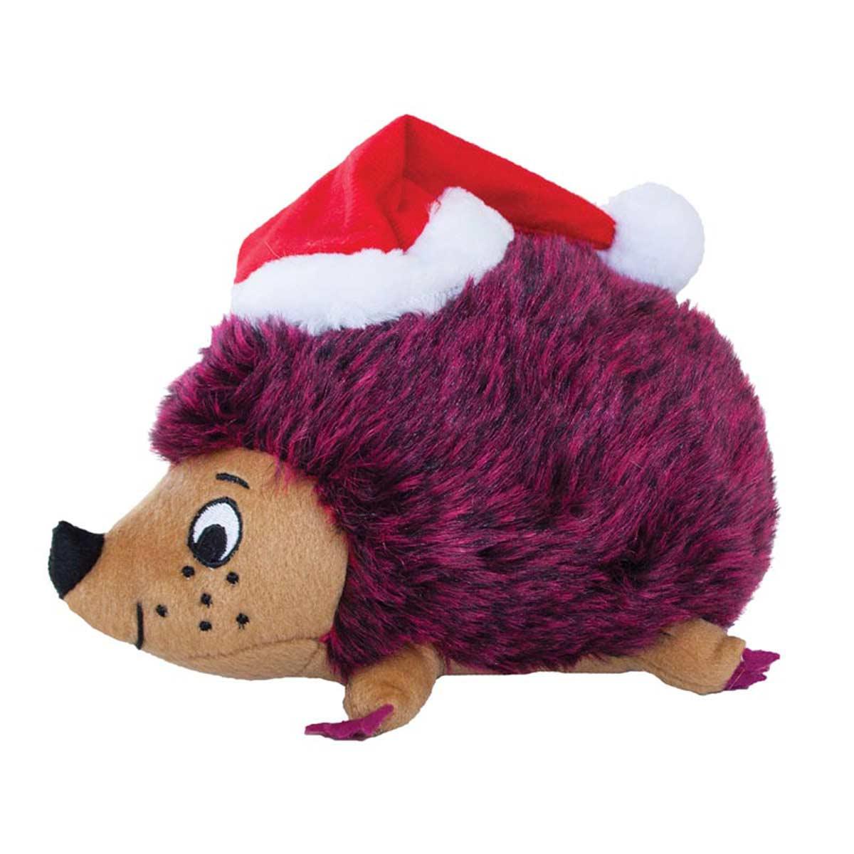 Outward Hound Medium Red Holiday Heggie Stuffed Dog Toy - Squeaks, Grunts, Rattles