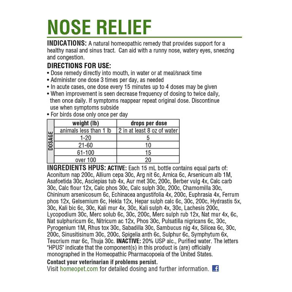 Instructions for Homeopet Nose Relief