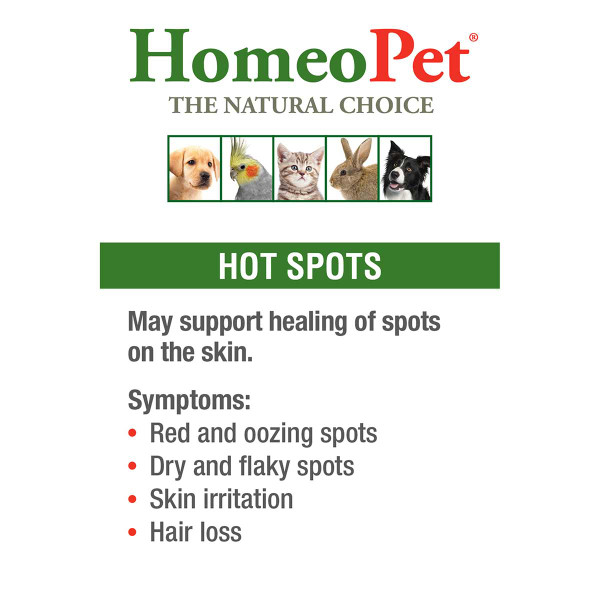 Symptoms to be reated with HomeoPet Hot Spot