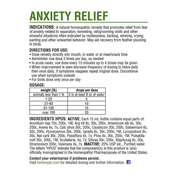 Directions for use for the HomeoPet Anxiety Relief
