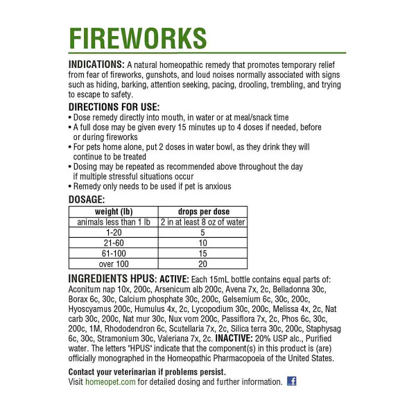 Instructions for use for the HomeoPet Fireworks pet supplement