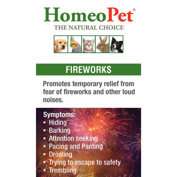 Symptoms treatable with the pet supplement HomeoPet Fireworks